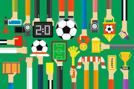 Modern soccer fan flat design set.Vector illustration Illustration