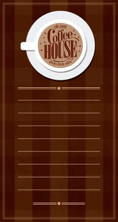 Coffee house retro long menu .Vector illustration