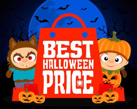 Best Halloween price design background with kids.Vector illustration Illustration