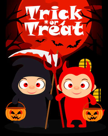 Halloween trick or treating background with kids in Halloween costume