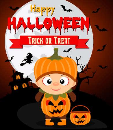 Halloween background with kid pumpkin.Vector illustration