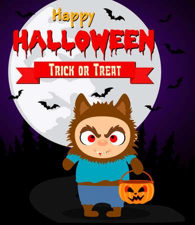 Halloween background with kid werewolf.Vector illustration Illustration