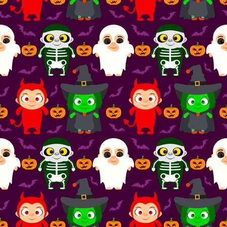 Halloween background  seamless with kids in Halloween costume .Vector illustration