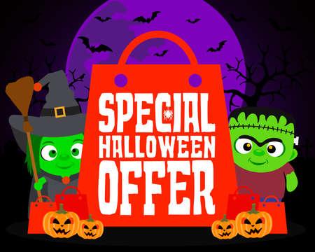Special Halloween offer design background with kids .Vector illustration