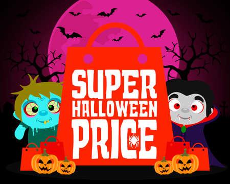 Super Halloween price design background with kids.Vector illustration