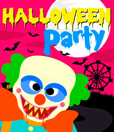 Halloween party background with clown.Vector illustration