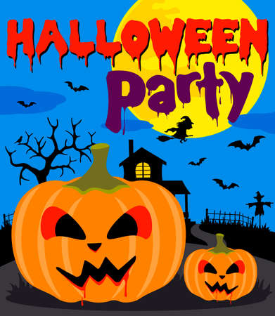 Halloween party background with pumpkin.Vector illustration