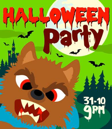 Halloween party background with werewolf.Vector illustration Illustration