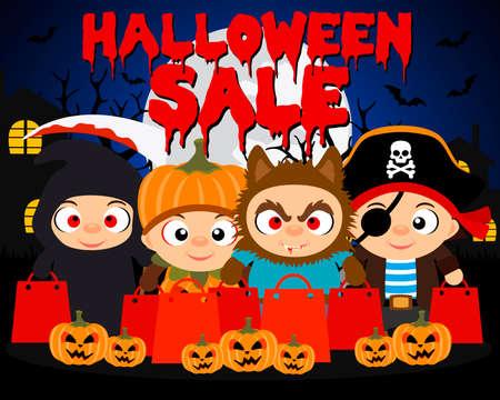 Halloween sale design background with funny kids.Vector illustration