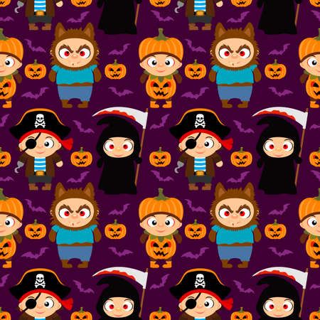 Seamless Halloween background with funny kids in Halloween costume .Vector illustration Illustration