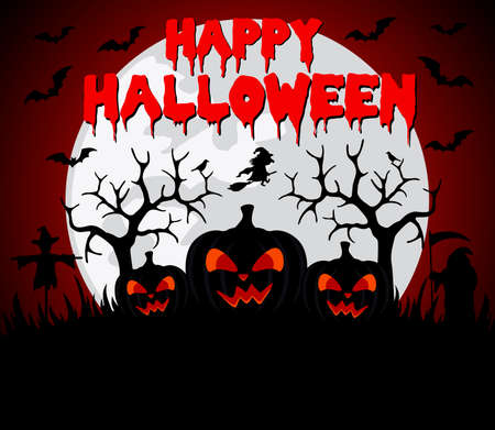 Happy Halloween background with pumpkin.Vector illustration