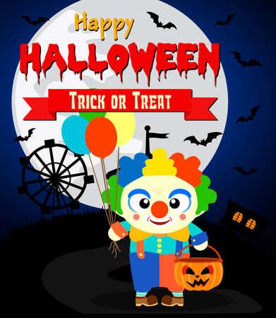 Halloween background with kid clown costume .Vector illustration