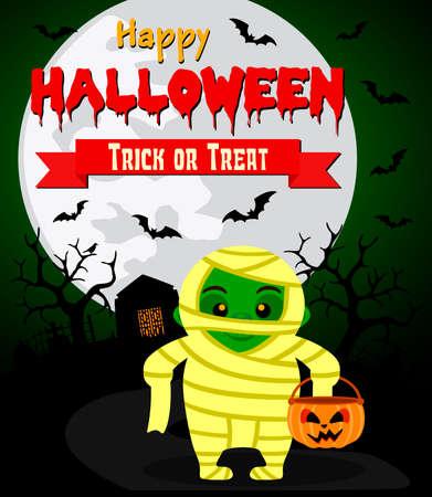 Halloween background with kid mummy costume .Vector illustration