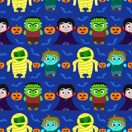 Seamless Halloween background with kids in Halloween costume .Vector illustration