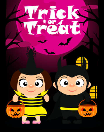 Trick or treat Halloween background with kids in Halloween costume