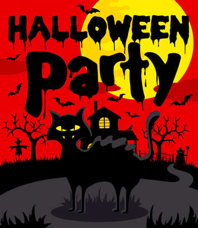 Halloween party background with black cat.Vector illustration Illustration