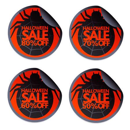 Halloween sale sticker with spider set 50,60,70,80 Ilustração