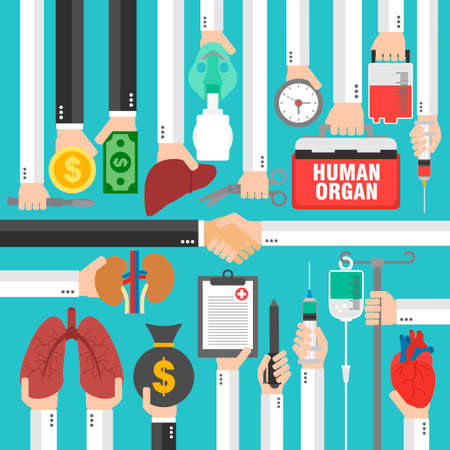 Human Transplantation infographic,buying agencies flat concept design.Vector illustration