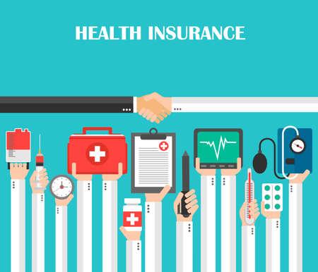 Health Insurance flat design.Vector illustration Illustration