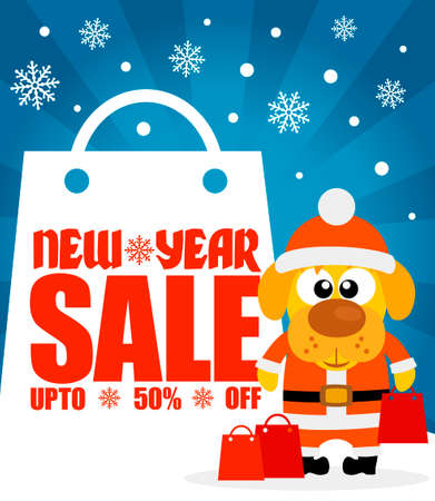 New Year sale background with dog  upto 50% off.Vector illustration
