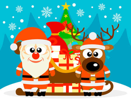 Happy New Year card with funny deer and Santa Claus. Vector illustration Illustration