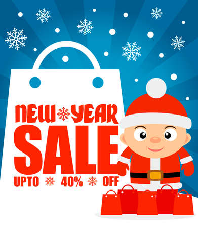 New Year sale background with boy upto 40% off.Vector illustration Illustration