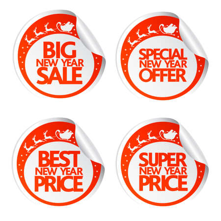 Big New Year sale stickers with Santa, deer and sleigh illustration.