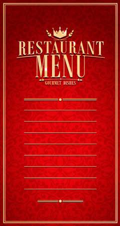 Baroque restaurant menu long red vector illustration.