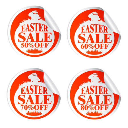 Easter sale stickers 50,60,70,80 percent off with rabbit.