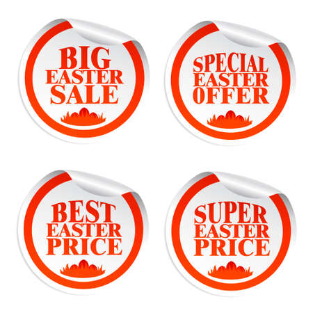 Easter stickers big sale,special offer,best price,super price with eggs in the grass.Vector illustration