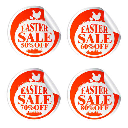 Easter sale stickers 50,60,70,80 with chicken.Vrector illustration Illustration
