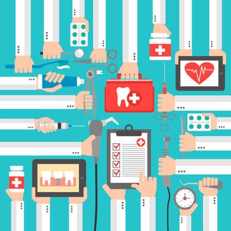 Dental medical design modern flat set.Vector illustration Illustration