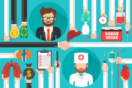 Human transplatation flat design business with doctor and businessman.Vector illustration