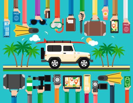 Summer travel flat design with SUV and surfboard.Vector illustrarion Illustration