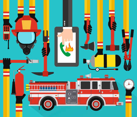 Fire Fighting infographic concept flat online call with fire engine.Vector illustration
