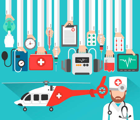 Medical helicopter flat concept design with doctor.Vector illustration