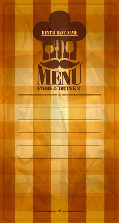 Food and drinks menu with cook cap.Vector illustration