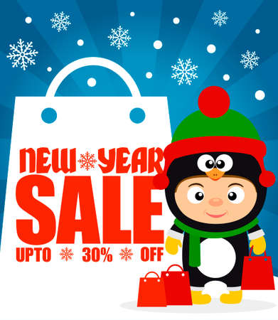 ew Year sale background upto 30 % off with child in costume penguin.Vector illustration