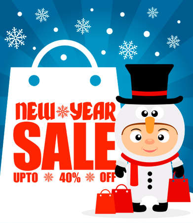 ew Year sale background upto 40 % off with child in costume snowman.Vector illustration
