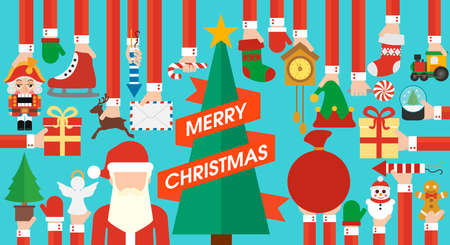 Merry Christmas,New Year design flat with Christmas tree.Vector illustration