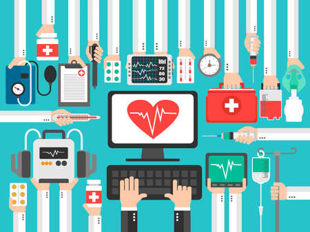 Medical computer with heart flat design .Vector illustration