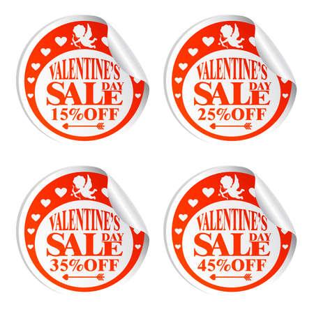 Autocollants de vente de la Saint-Valentin avec Cupidon 15,25,35,45 pour cent de réduction. Illustration vectorielle Vecteurs