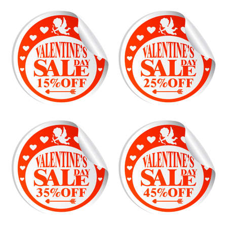 Valentijnsdag verkoop stickers met Cupido 15,25,35,45 procent korting.Vectorillustratie Vector Illustratie