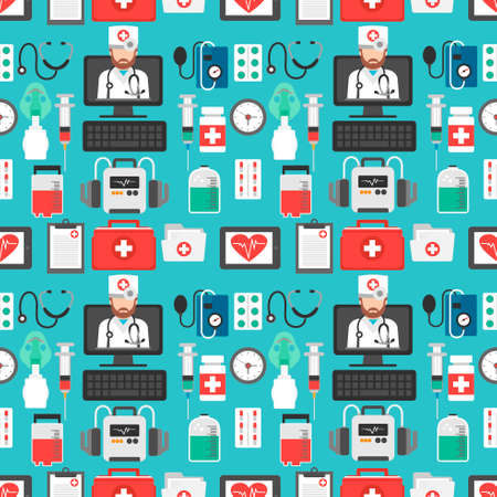 Healthcare seamless flat design set isolated vector illustration with computer online doctor.Vector illustration Ilustração