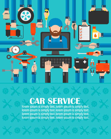 Car service computer online set with Mechanic flat design.lorem ipsum is simply text.Vector illusration  イラスト・ベクター素材