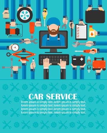 Car service computer online set with Mechanic flat design.lorem ipsum is simply text.Vector illusration 向量圖像