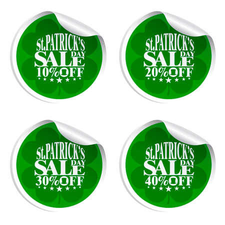St. Patricks Day sale stickers with cylinder hat 10,20,30,40 percent off.Vector illustration Illustration