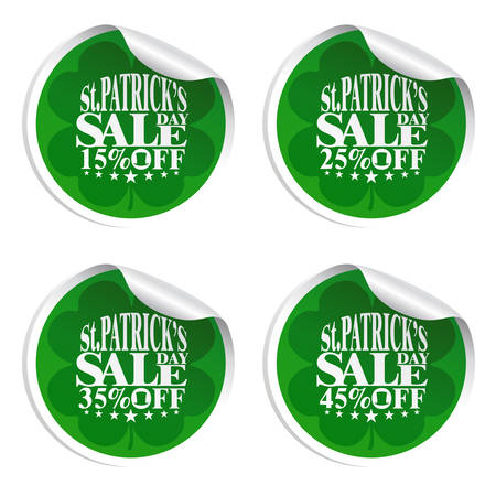 St. Patricks Day sale stickers with cylinder hat 15,25,35,45 percent off.Vector illustration