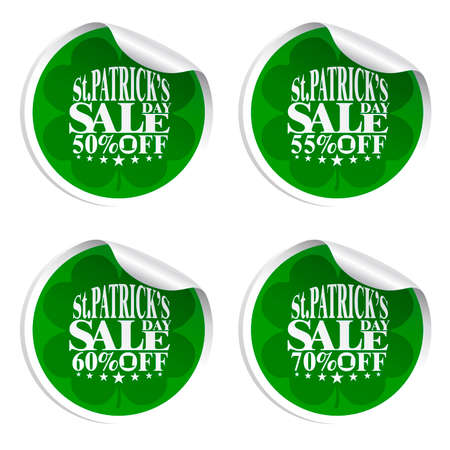 St. Patricks Day sale stickers with cylinder hat 50,55,60,70 percent off.Vector illustration Illustration