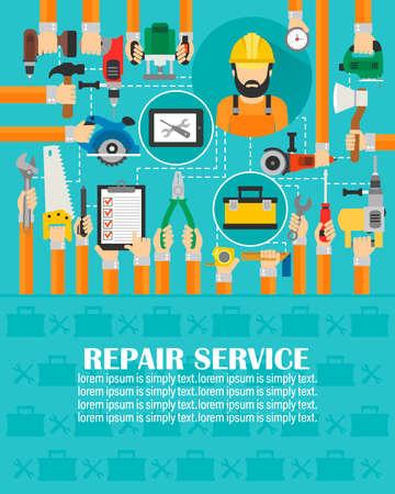 Repair service concept design flat.lorem ipsum is simply text.Vector illustration Иллюстрация